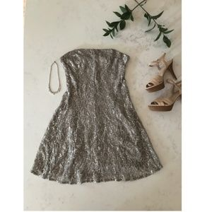 Strapless Shimmery Mini Dress  - M - New Years Eve